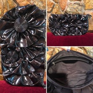 Shiny Black Patent Leather Feel Clutch